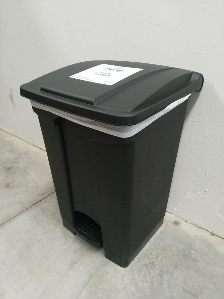 Black nappy bin
